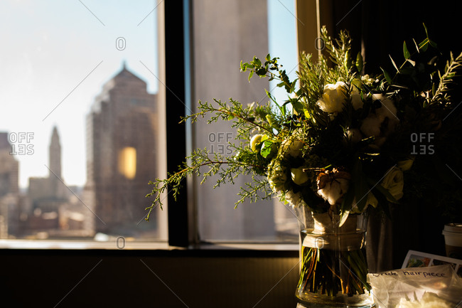 A winter wedding floral arrangement