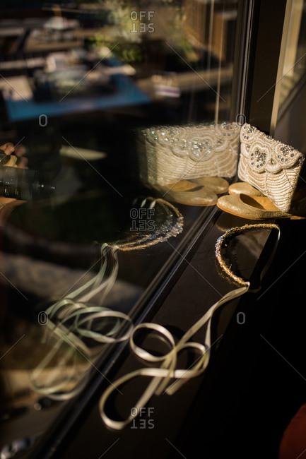 Bridal accessories on a windowsill