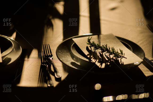 Place setting with menu at a winter wedding