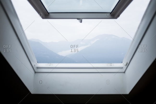 View of Lake Como in Italy from a skylight window