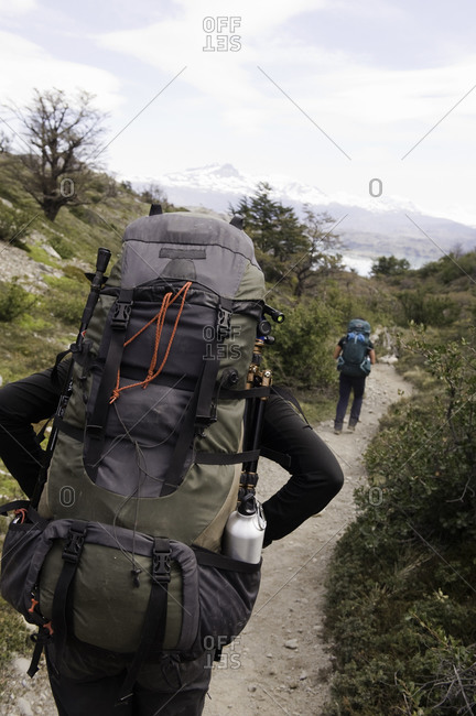 Backpackers on a mountain trail
