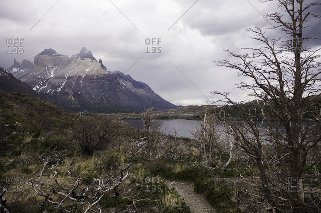 Hiking trail near a mountain lake