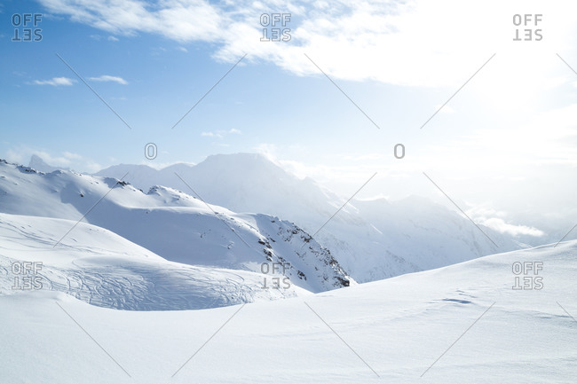 Snow covered mountains in the French Alps, France
