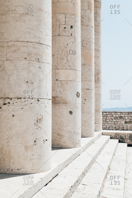 Steps leading up to large stone columns, Greece
