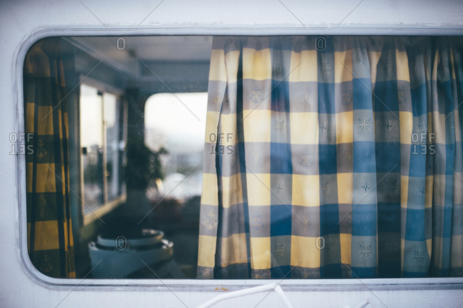 View of cabin on a ship through a window