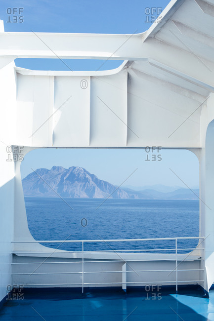 View of mountain and sea from a ship