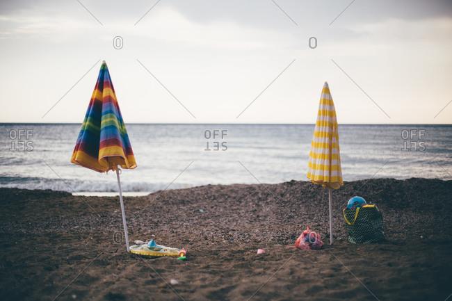 Beach umbrellas in the sand