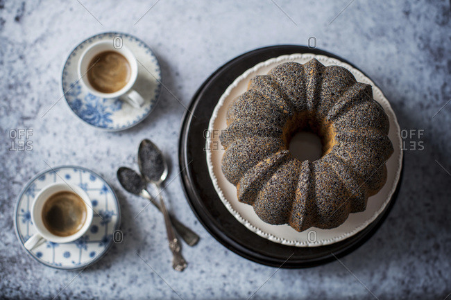 Lime poppy seed cake served for a coffee break