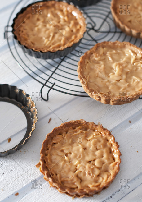 Close up of almond tartlets