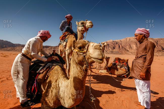 Wadi Rum, Jordan - November, 2010: Tourists riding camels in the desert in Wadi Rum, Jordan