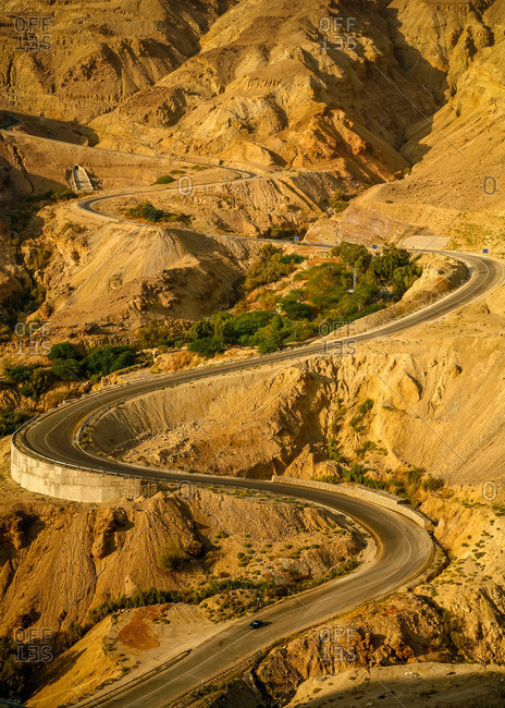 The steep mountain road from the Dead Sea to Hammamat Ma'in in Jordan
