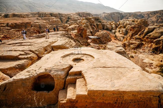 Petra, Jordan - November, 2010: The altar of the High Place of Sacrifice in Petra, Jordan