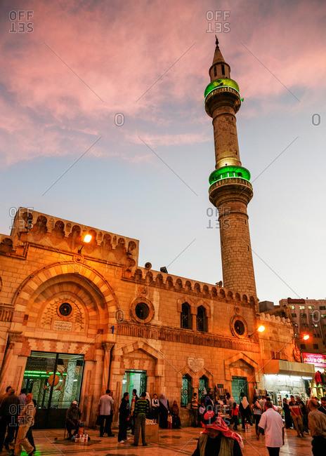 Amman, Jordan - November, 2010: Al-Husseini Mosque in downtown Amman, Jordan at twilight