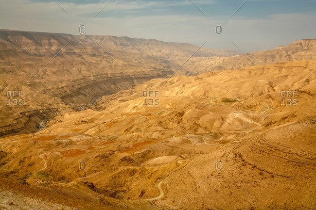 View seen from a lookout along the Kings Highway in Jordan of the Wadi Mujib escarpment