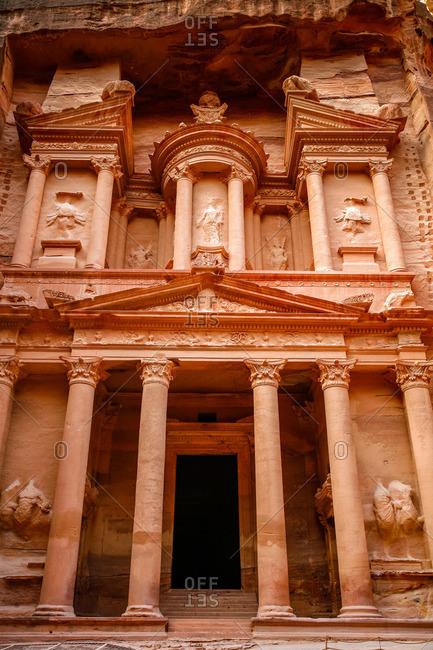 View of the Treasury (El Khazneh) in Petra, Jordan