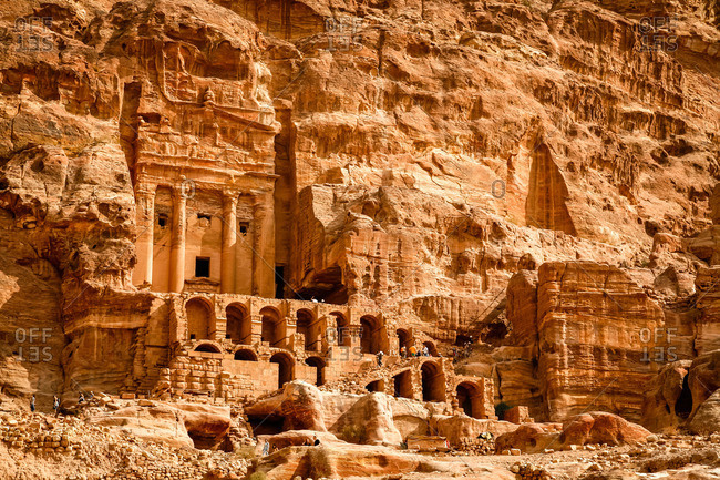 The Urn Tomb, one of the Royal Tombs, in Petra, Jordan
