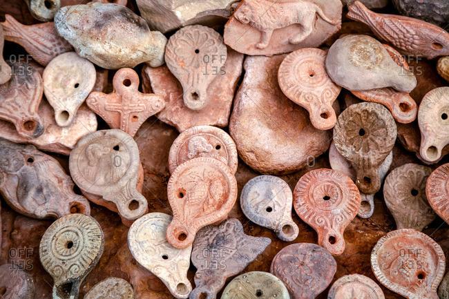 Clay oil lamp souvenirs in Petra, Jordan