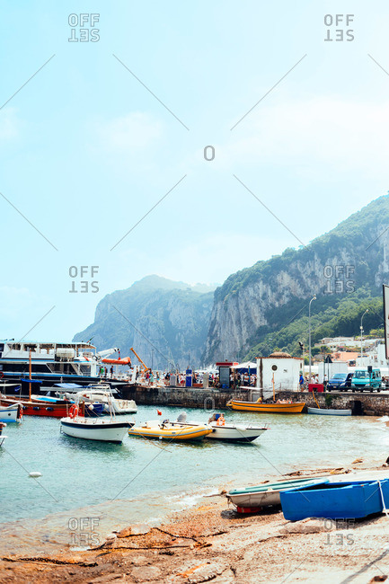 Boats in the bay in Capri, Italy
