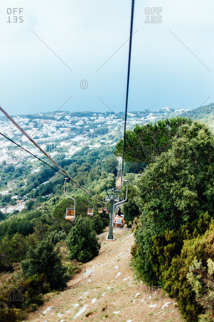 Chair lift on the Island of Capri, Italy