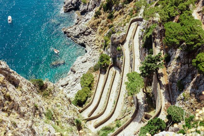 Via Krupp footpath in Capri, Italy
