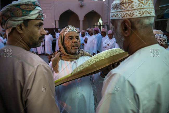 Nizwa, Oman - February 6, 2015: Date palm pollen being auctioned during the Friday market