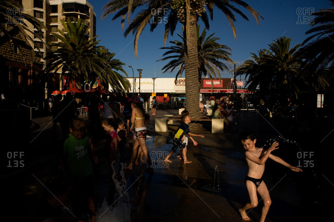 Glenelg, Australia - January 30, 2009: Kids cooling off in fountain