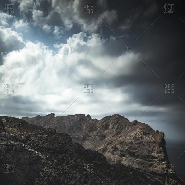 Cloudy sky over mountains near Cap Formentor, Spain