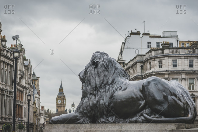 Lion sculpture in Trafalgar Sqare in London with Big Ben in the background