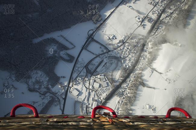 Ariel view of Austria from hot air balloon