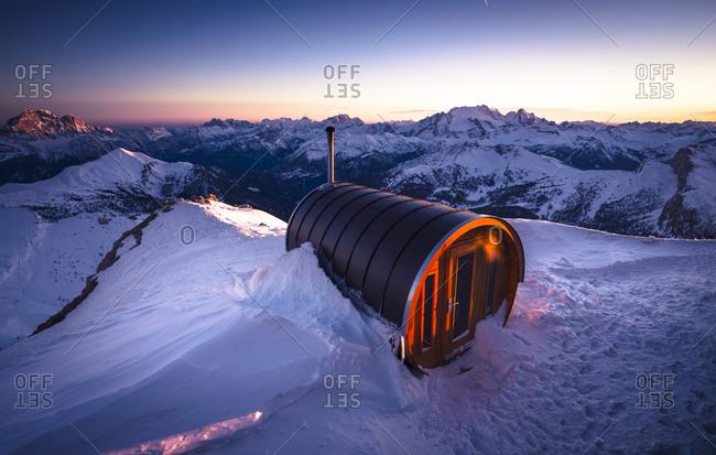 Sauna at Lagazuoi in Dolomites, Italy
