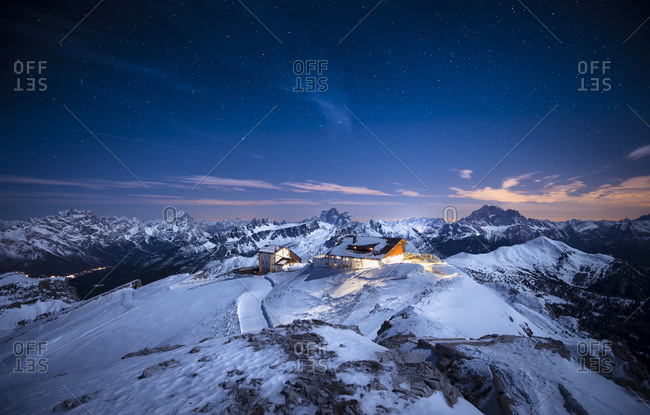 Alpine Cabin at night in Lagazuoi, Italy