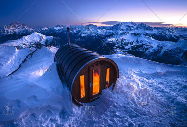 Sauna at Lagazuoi in Dolomites, Italy
