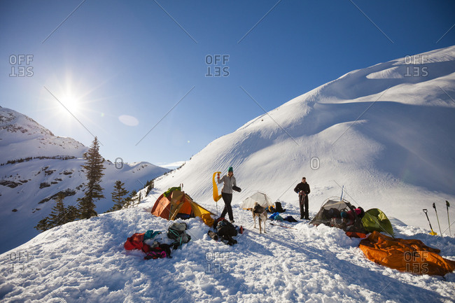 Winter camping in the Coast Mountains, British Columbia, Canada