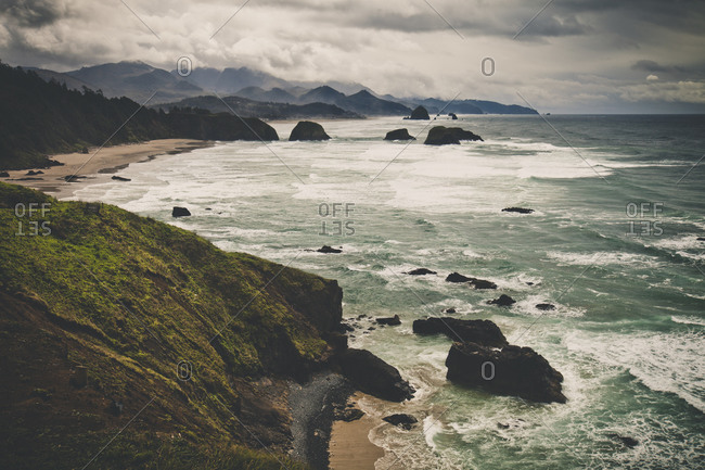 The view of the Oregon Coast and Cannon Beach from Ecola State Park, Seaside, Oregon