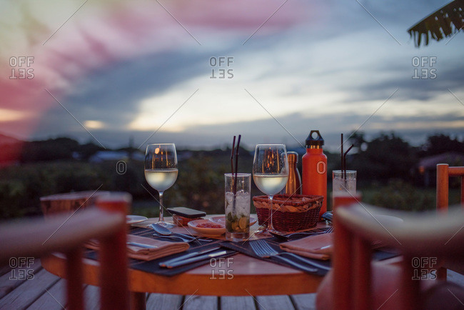 Romantic table set for two at twilight