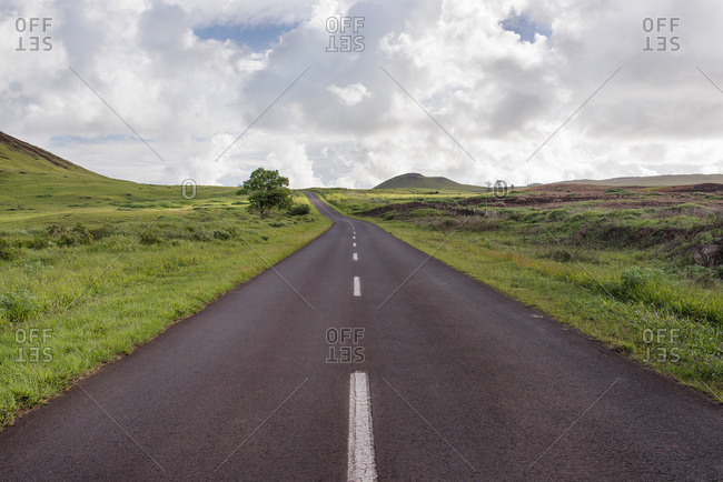 Narrow road traveling through Easter Island