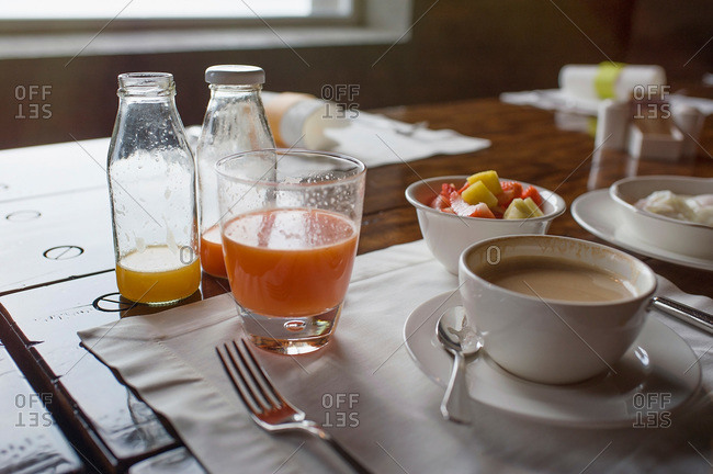 Breakfast with fresh fruit, juice and coffee