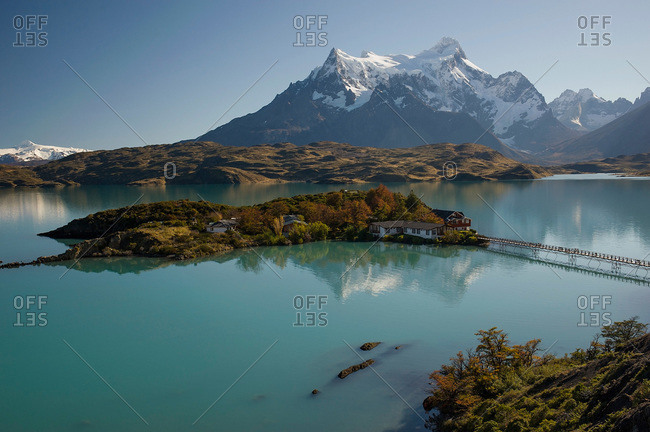 View of an island and glacial lake in Torres del Paine, Patagonia