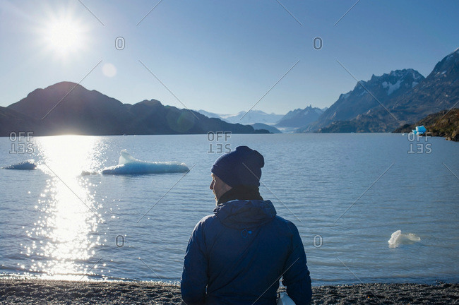 Man standing on the shore in Patagonia