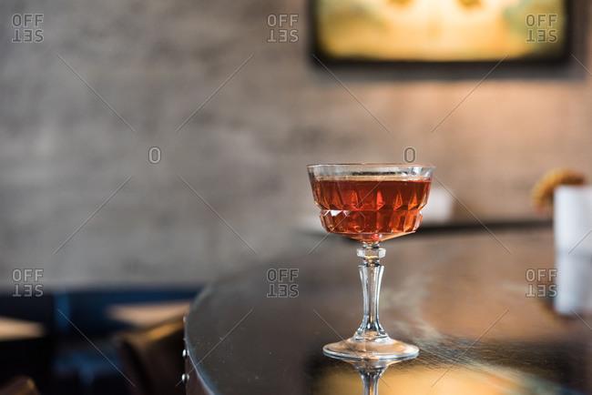 Cocktail sitting on bar