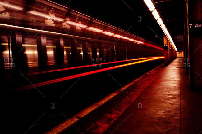 Lights of subway train in platform