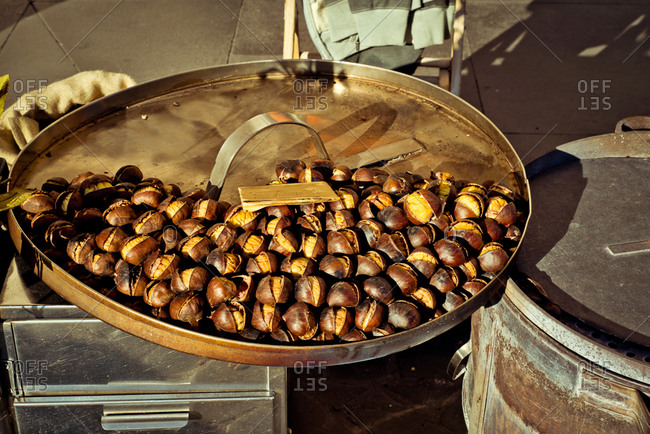 Brazil nuts on a cooking tray