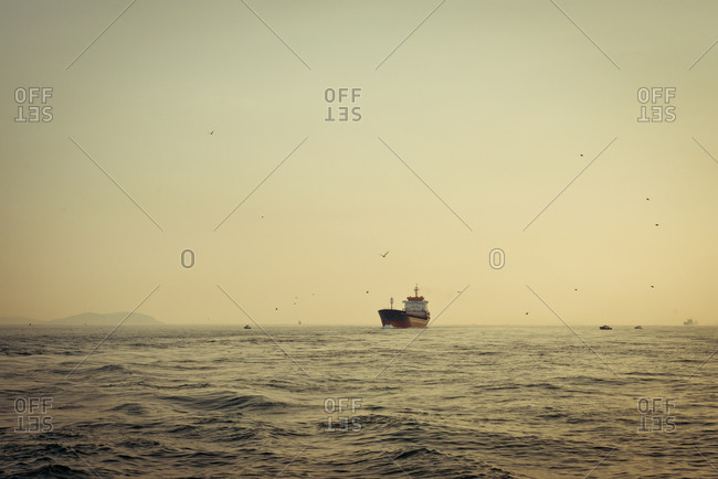 Cargo ship on the ocean
