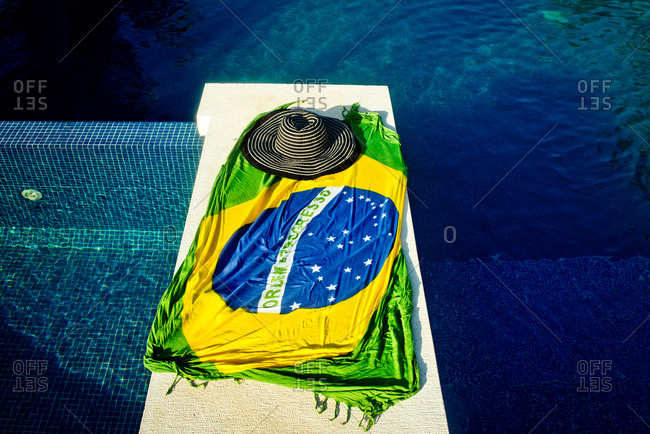 Brazilian flag wrap by pool