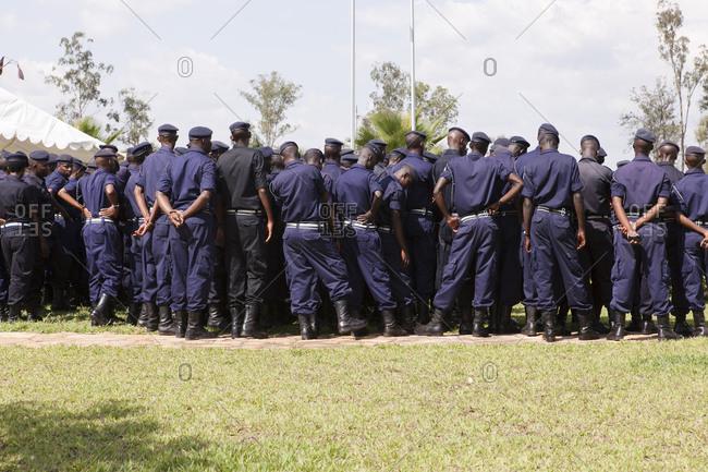 Kigali, Rwanda - February 28, 2011: Police officers listen to a speech at a police station in Kigali, Rwanda