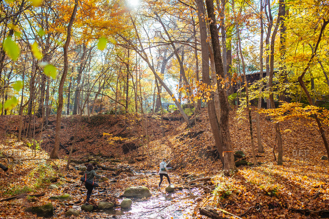 Two women crossing a stream in the woods with yoga mats