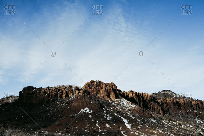 Scenic landscape view of desert mountains in Texas