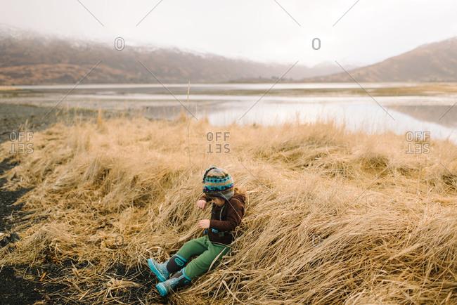 Toddler girl playing in long grass