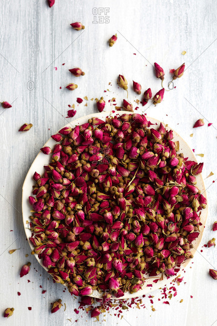 Bowl of small rose buds used for baking