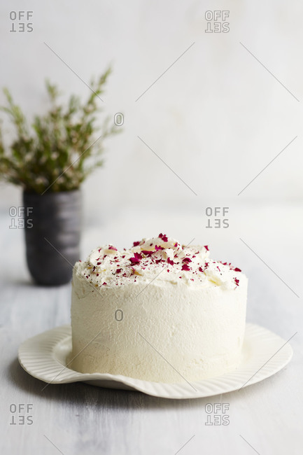 Rhubarb and rose petal white cake